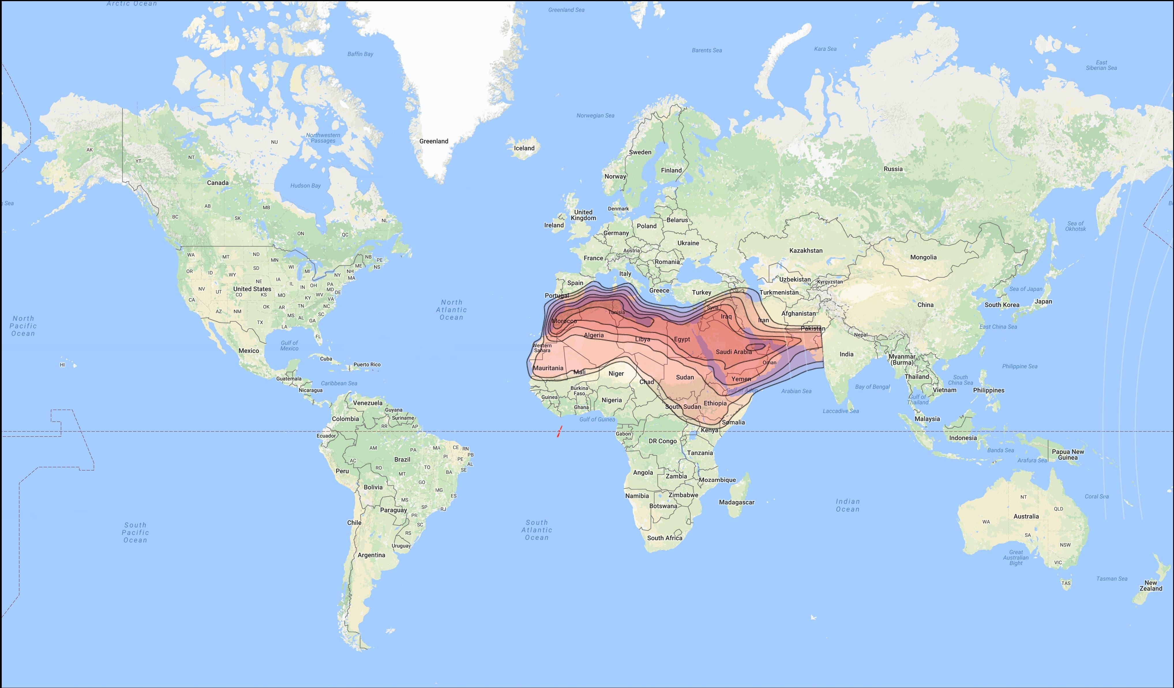 ترددات الستالايت في الشرق الأوسط