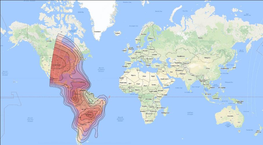 ترددات الستالايت في جنوب أميركا